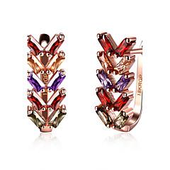 Naisten Korvarenkaat Cubic Zirkonia Muoti Zirkoni Metalliseos Leaf Shape Korut Käyttötarkoitus Häät Party Päivittäin Kausaliteetti