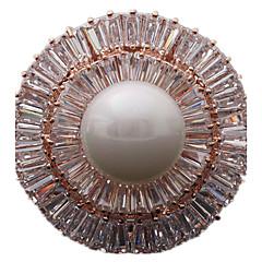 Γυναικεία Καρφίτσες κοσμήματα πολυτελείας κοστούμι κοστουμιών Μαργαριτάρι Ζιρκονίτης Cubic Zirconia Circle Shape Geometric Shape Κοσμήματα