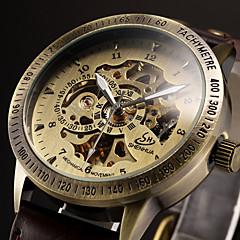 Ανδρικά Αθλητικό Ρολόι Ρολόι Φορέματος Μοδάτο Ρολόι μηχανικό ρολόι Αυτόματο κούρδισμα Ημερολόγιο Μεγάλο καντράν Γνήσιο δέρμα Μπάντα