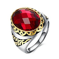 Heren Ring Modieus Kostuum juwelen Edelsteen Roestvast staal Titanium Staal Glas Cirkelvorm Geometrische vorm Sieraden Voor Feest