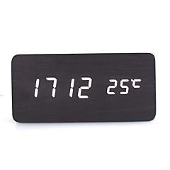 활성화 된 음성 및 터치 - raylinedo® 최신 디자인 패션 검은 나무 흰색 빛 나무 디지털 알람 시계 - 시간 온도 날짜 표시를 주도
