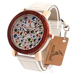 Dames Modieus horloge Polshorloge Unieke creatieve horloge Vrijetijdshorloge Horloge Hout Japans Kwarts Japanse quartz houten Echt leer