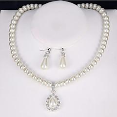 Mulheres Sets nupcial Jóias Imitação de Pérola Imitação de Diamante Clássico bijuterias Vintage Euramerican Liga Forma Redonda Para Festa
