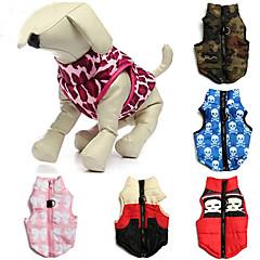Koty Psy Płaszcze Yelek Red Zielony Niebieski Różowy Ubrania dla psów Zima Wiosna/jesień Czaszki kamuflaż Codzienne Zatrzymujący ciepło
