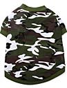 Caes Camiseta Verde Roupas para Caes Verao Primavera/Outono camuflagem Da Moda