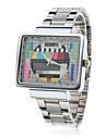 유니섹스 TV 패턴 사각 케이스 실버 스틸 콰츠 아날로그 손목 시계