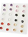 Flor brincos de strass (cor aleatória)