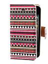 Capa Frontal e Traseira com Padrão Colorido Geométrico Asteca em Couro PU com Compartimento para Cartão e Suporte para iPhone 4/4S