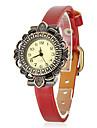 Flor Estilo PU banda analógica relógio de pulso de quartzo das mulheres (cores sortidas)
