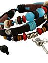 Strand bracelet noir en cuir de classiques archaisant 20cm Hommes () (1 PC)