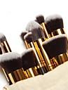 Набор из 10 профессиональных кистей для макияжа с золотистыми ручками, чехол в комплекте
