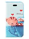 Gato Beijando peixes Padrão PU caso de corpo inteiro com suporte e slot para cartão de iPhone 5C