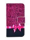 Коко FUN ® Фиолетовый Leopard Pattern карточки бумажника Слоты PU Кожаные чехлы с подставкой для IPhone 4S Включенная Кино и Stylus