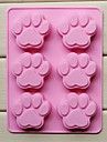 6 Hole Cat\'s Paw Shape Cake Ice Jelly Chocolate Molds,Silicone 18.5×14.1×1.6 CM(7.3×5.6×0.6 INCH)