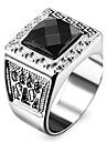Men\'s Women\'s Statement Rings Love Personalized Costume Jewelry Stainless Steel Acrylic Imitation Diamond Square Geometric Jewelry Jewelry