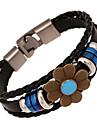 couro braceletsz charme&X® pulseiras de couro de flor vertente do vintage do punk