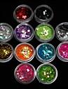 12Pcs Colors 3MM Acrylic Paillette Nail Art Decoration
