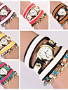 Women's Round Dial Pearls Colored Band Quartz Analog Fashion Bracelet Watch (Assorted Color)