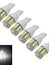 JIAWEN® 6pcs T10 3W 10X7020SMD 210LM 6000-6500K Cool White LED Car Light (DC 12V)