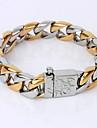 Homens Pulseiras em Correntes e Ligacoes Pulseira Original Moda Estilo simples bijuterias Chapeado Dourado Joias Joias Para Presentes de