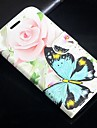 나비 패턴 PU 가죽은 아이폰 5C를위한 자석 스냅 및 카드 슬롯에 보호 케이스를 뒤집어 장미