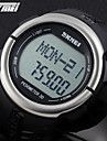 SKMEI 남성 스포츠 시계 디지털 시계 LCD 맥박 측정기 달력 크로노그래프 방수 경보 석영 디지털 일본 쿼츠 고무 밴드 블랙