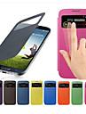 용 삼성 갤럭시 케이스 윈도우 / 플립 케이스 풀 바디 케이스 단색 인조 가죽 Samsung S4 Mini