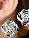 Women\'s Stud Earrings Birthstones Simple Style Bridal Costume Jewelry Silver Sterling Silver Flower Jewelry For Wedding Party Daily