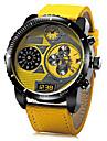 JUBAOLI 남성용 밀리터리 시계 손목 시계 석영 가죽 밴드 블랙 블루 레드 노란색