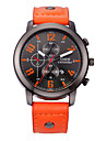 Men\'s Fashion Watch Calendar Casual Watch Quartz Leather Band Black Red Orange Brown