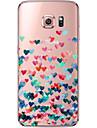 Для Samsung Galaxy S7 Edge Прозрачный / С узором Кейс для Задняя крышка Кейс для С сердцем Мягкий TPU SamsungS7 edge / S7 / S6 edge plus