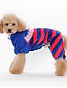 강아지 점프 수트 파자마 강아지 의류 귀여운 캐쥬얼/데일리 스트라이프 오렌지 블루 핑크