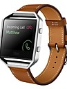 Rugged Metal Frame Housing with Luxury Leather Watch Band Wrist Strap Replacement for Fitbit Blaze