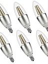 5W E14 Luzes de LED em Vela C35 35 SMD 3528 500 lm Branco Quente Branco Decorativa AC 220-240 AC 110-130 V 6 pcs
