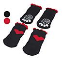 hesapli Köpek Giyim ve Aksesuarları-Köpek Çoraplar Günlük / Sade / Sıcak Tutma Kalp Siyah / Kırmzı Evcil hayvanlar için