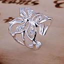 hesapli Yüzükler-Kadın's Nişan yüzüğü - Kristal Kelebek, Hayvan Lüks, Açık Ayarlanabilir Gümüş Uyumluluk Düğün Günlük