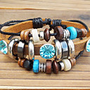 cheap Bracelets-Women's Charm Bracelet Vintage Bracelet Leather Bracelet Beaded Aquarius Ladies Unique Design Fashion Wooden Bracelet Jewelry For Party Daily Casual Sports
