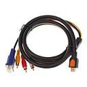 Недорогие VGA-HDMI V1.3 мужчина к 3 RCA + VGA Мужской HD15 Видео Аудио AV компонентный кабель (1,5)