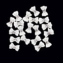 cheap Makeup & Nail Care-20pcs 3d white resin rhinestone bowknot nail decorations
