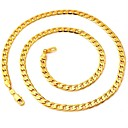 hesapli Kolyeler-Kadın's Figaro Zinciri / Tıknaz Zincir Kolyeler - Altın Kaplama Moda Kolyeler Uyumluluk Düğün, Parti, Günlük