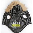 hesapli Köpek Giyim ve Aksesuarları-Kedi / Köpek Kapüşonlu Giyecekler Köpek Giyimi Polis / Ordu / Harf & Sayı Siyah Terylene Kostüm Evcil hayvanlar için