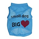 رخيصةأون Sony أغطية / كفرات-قط كلب T-skjorte ملابس الكلاب قلب مطبوعة بأحرف وأرقام أزرق زهري تيريليني كوستيوم من أجل ربيع & الصيف