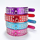 cheap Dog Clothing & Accessories-Cat Dog Collar Reflective Rhinestone PU Leather Purple Rose Red
