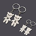 cheap Key Chains-Personalized Engraving  Bear Metal Couple Keychain