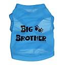 voordelige Hondenkleding & -accessoires-Kat Hond T-shirt Hondenkleding Letter & Nummer Blauw Textiel Binnenwerk Kostuum Voor huisdieren