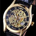 رخيصةأون ساعات النساء-WINNER رجالي ساعة المعصم ووتش الميكانيكية داخل الساعة أتوماتيك جلد أسود نقش جوفاء مماثل سحر - ذهبي