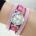 hesapli Kadın Saatleri-Kadın's Quartz Bilek Saati Bilezik Saat imitasyon Pırlanta Deri Bant İhtişam Gül