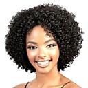 hesapli Makyaj ve Tırnak Bakımı-Sentetik Peruklar Bukle / Kinky Curly / Gevşek Dalgalar Asimetrik Saç Kesimi / Orta kısım Sentetik Saç 10 inç Doğal saç çizgisi / Afrp Amerikan Peruk Siyah Peruk Kadın's Şort Bonesiz Siyah