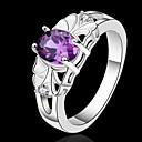 hesapli Küpeler-Kadın's Kristal Bildiri Yüzüğü - Som Gümüş 7 / 8 Mor Uyumluluk Düğün Parti Günlük