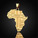 hesapli Kolyeler-Erkek Figaro Zinciri Uçlu Kolyeler / Kolye Uçları - Altın Kaplama Haritalar Kolyeler Mücevher Uyumluluk Günlük, Spor